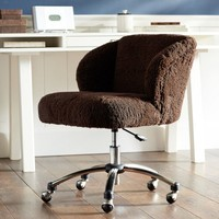 Chocolate Sherpa Wingback Desk Chair