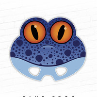 Halloween Mask, Printable Mask, Animal Mask, Blue Frog Mask, Frog, Poison Dart Frog, Photo Props, Kids Costume, Halloween Costume, For Kids