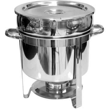 Commercial Stainless Steel 11 Qt. Round Marmite Chafer
