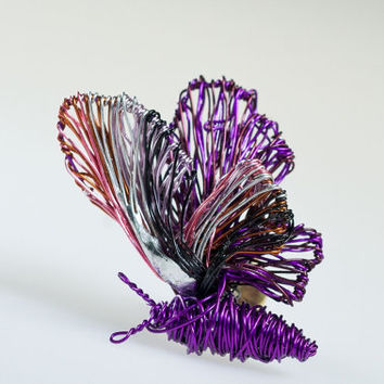 Purple butterfly brooch. Wire art brooch. Art jewelry. Unusual brooch. Butterfly jewelry. Wire sculpture. Cute brooch. Small brooch.