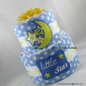 Blue diaper cake | Boy diaper cake | Baby Shower decoration | New baby gift | Baby Shower gift | Moon and Stars diaper cake |  New mom gift
