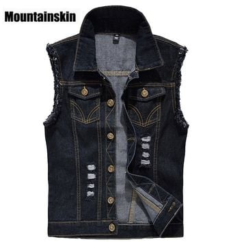 Denim Vest Mens Jackets Sleeveless Fashion Washed Jeans Waistcoat Mens Tank Top Cowboy Male Ripped Jacket Plus Size 6XL EDA359