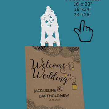 DIY Wedding Welcome Sign Template Printable, Editable PDF Template, Instant Download, Digital, Kraft Mason Jars and Fireflies #1CM77-2