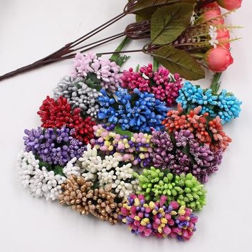 144pcs Mini pearl Berry Artificial Stamen Flower For Wedding Home Decoration Pistil DIY wreath Scrapbooking Craft Fake Flowers