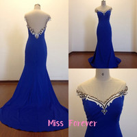 Mermaid Evening Dresses,Cap Sleeve Prom Dress,Sheer Back Party Gowns,Royal Blue Satin Evening Gowns,Beads Long Homecoming Dresses 2015 New