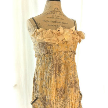 Shabby crinkle dress rustic country chic by TrueRebelClothing