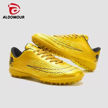 ALDOMOUR Men Soccer Indoor Cleats Shoes Ankle Top Soccer Football Boots Trainers Athletic Sports Sneakers