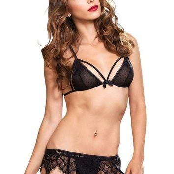DCCKLP2 3PC.Swiss dot cage strap bra,g-string,chantilly lace garter belt in BLACK
