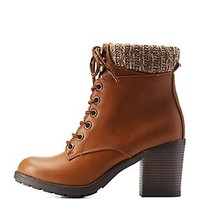 SWEATER CUFF LACE-UP HIKING BOOTIES