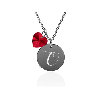 Dainty Initial Necklace made with Crystals from Swarovski  - O