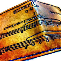 Pick Your Song,Sheet Music,Custom Music,Leather Wallet,Song Wallet,Anniversary,Anniversary Present,Music Gift,holds 12 cards,2 bill slotss