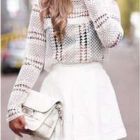 White Turtle Neck Cut Out Crochet Long Sleeve Blouse