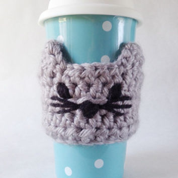 Coffee Cup Sleeve - Crocheted Cat Coffee Travel Mug Cozy- Kitty Coffee Mug Cozy - Reusable Coffee Cup Cozy