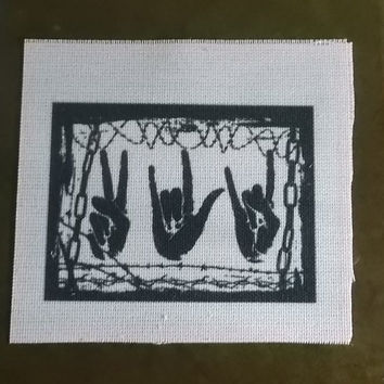 Grunge patch- peace love and rock  back patch sew on apllique patch iron on