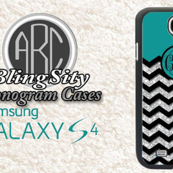 Turquoise Monogram Galaxy S4 S5 Case Black Chevron Silver Sparkle Personalized Cover s3 Note 2 3 4 *Not Actual Glitter