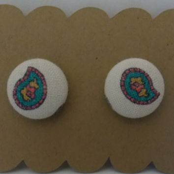 """Medium Fabric Button Earrings (5/8"""") - Vintage Paisley Fabric - White/Pink/Teal"""