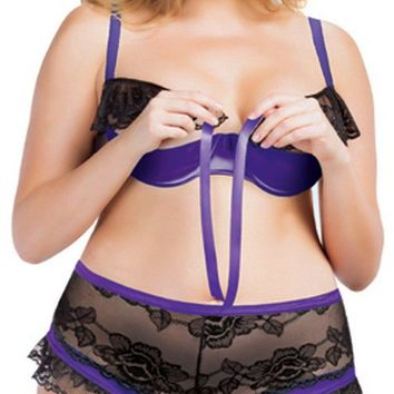 Plus Size Two Piece Lingerie Set with Satin Shelf Bra and High Waist Panty