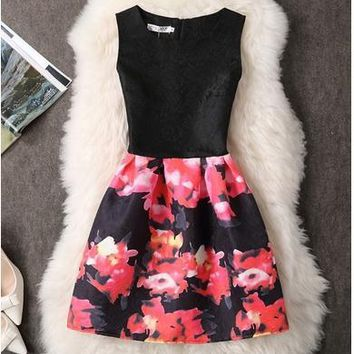 Summer Dress Women 2016 Slim Butterfly Printed France Lady A-line Dress Casual Vintage vestido Female Clothing Contrast Color