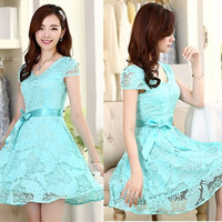 Hot Fashion 2015 Women Bodycon Dress Lace Patchwork Elegant Women Dresses Plus Size Women Clothing = 1932362052