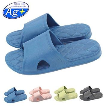Happy Lily WomenMens Slip On Slippers Nonslip Shower Sandals House Mule Soft Foams Sole Pool Shoes Bathroom Slide Water Shoes