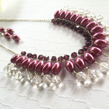 Purple Beaded Necklace - Pink Beaded Necklace - Fishhook Earrings - Jewel Tone Color Necklace - Purple Pattern Necklace - Purple Earrings