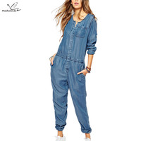 2016 Autumn European ladies elegant vintage jumpsuit women pockets slim casual denim romper women jumpsuits