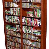 "Bookcase Media Tower - Tall Double (Cherry) (76""H x 52""W x 9.5""D)"