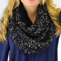 Old Soul Black Metallic Knit Infinity Scarf