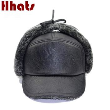 Trendy Winter Jacket Which in shower old men PU winter baseball cap male waterproof windproof faux leather fur lining ear flap snapback fitted hat AT_92_12