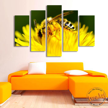 5 Panel Wall Art Canvas Prints Honey Bee Pictures Animal Painting Yellow Flower Pictures for Bedroom Modern Home Decor No Frame