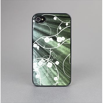 The Grunge Green Rays of Light with Glowing Vine Skin-Sert for the Apple iPhone 4-4s Skin-Sert Case