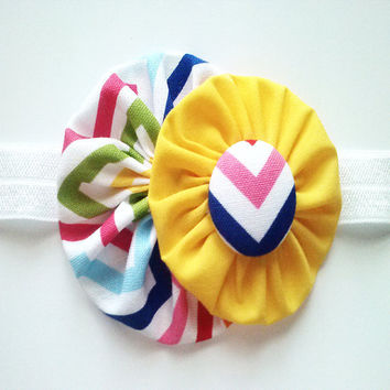 Yellow fabric flower headband - infant toddler chevron head band with covered button center - white elastic band - photo prop
