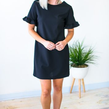 This One's for You Ruffle Sleeve Dress in Black