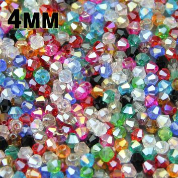 JHNBY 4mm 100pcs AAA Bicone Austrian crystals loose beads ball supply AB color plating ,bracelet necklace Jewelry Making DIY