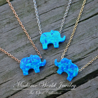 Reconstituted Blue Opal Baby Elephant Slider Necklace