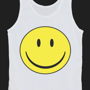 Smiley Face Tank Top Women Tops White Tee Shirt Tank Tops Size XS, S, M, L