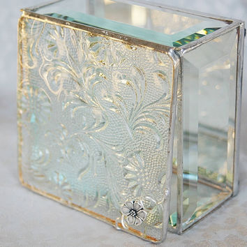 Stained Glass Jewelry Box Clear Florielle 4x4 w/ a by GaleazGlass