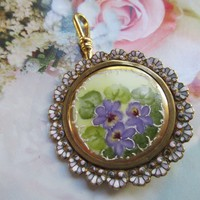 Antique Enameled Hand Painted Porcelain Pendant Violets
