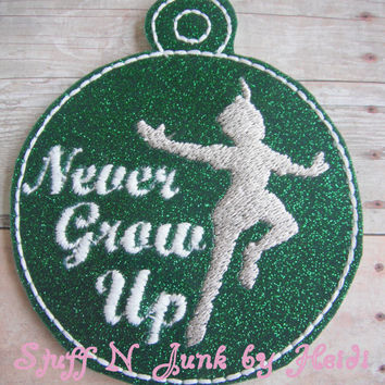 Never Grow Up Silhouette Embroidered Ornament, Peter Ornament, Pan Ornament