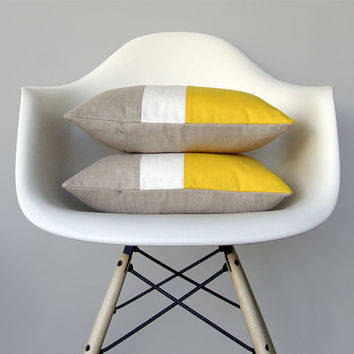 Lemon Linen Color Block Cushion Cover with Cream Stripe (Set of 2) by JillianReneDecor - Modern Home Decor - Bright Yellow
