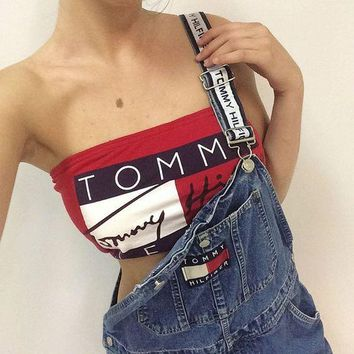 Tommy Jeans Beach Comfortable Summer Stylish Lace Patchwork Bra Sexy Slim Vest [11516239756]