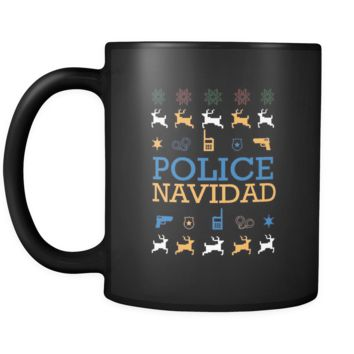 Police Navidad Thin Blue Line Law Enforcement Funny Ugly Christmas Holiday Sweater Black 11oz Coffee Mug