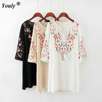 Floral Embroidery Tunic Dress Mexican Vintage Hippie Dress 2019 Women Loose Casual Cotton Boho Mini Beach Dress ladies Vestidos