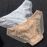 2017 sexy panties pink transparent panties sexy lingerie women underwear cotton briefs women lace panties