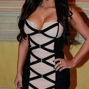 Chicloth Sexy Bodycon Black and Beige Corset Bandage Dress