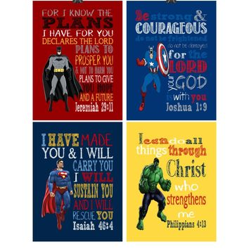 Superhero Christian Nursery Decor Art Set of 4 Prints Batman, Captain America, Superman and Hulk