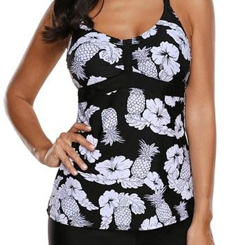 Black White Floral and Pineapple Print Tankini Swimwear