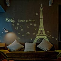 ElecMotive(TM) Loves in Paris Eiffel Tower Fluorescent Luminous Stickers Glow in the Dark Wall Decals for Wedding Decorative Home Decor Restaurant Bedroom Sitting Room Tile Window Sticker Sofa Tv Background DIY Art Decals