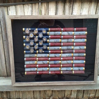 Framed Shot Gun Shell American Flag
