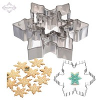 KECTTIO 3 pcs/Lot Snowflake Shape Cookie Cutter Stainless Steel Snow Form Cookie DIY Fondant Chocolate cake Decoration Mould